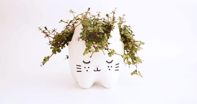 Cute Kitty Plastic Bottle Planter