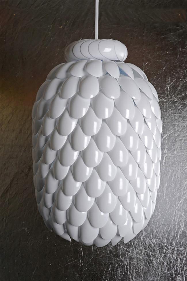 upcycled plastic bottle lamp
