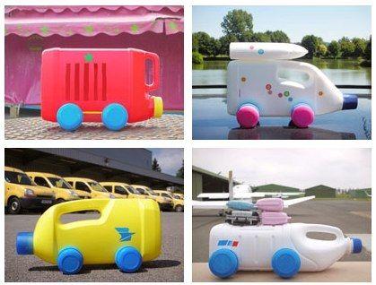 upcycled plastic bottle race car toys
