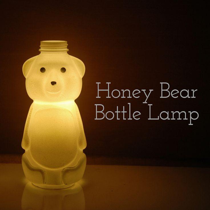 recycled honey bear bottle lamp