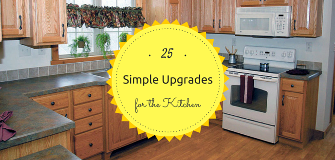 25 simple kitchen upgrades to give a boost to the look, feel and function of your kitchen. With these kitchen home improvements, you'll be able to cook like a pro, clean up any mess easily and enjoy the comforts of a well designed kitchen.