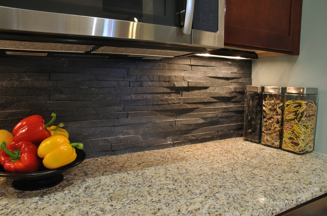 Green remodeling idea: salvaged stone back splash