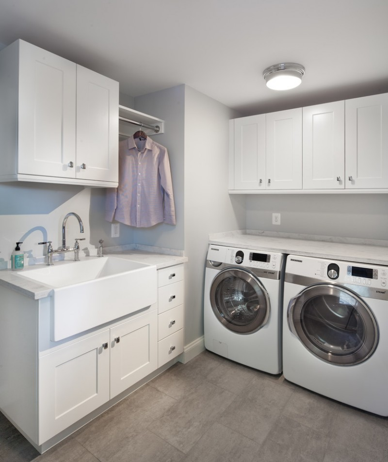 Laundry Room Sink With Cabinet Laundry Room Transitional With Apron Sink Clothes Rod1
