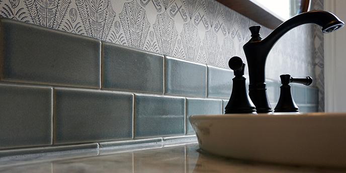 Bathroom Sink With Gray Backsplash