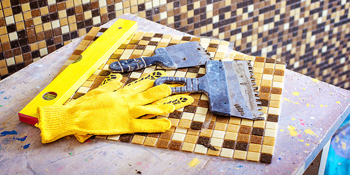 Bathroom Tiling Tools on Counter