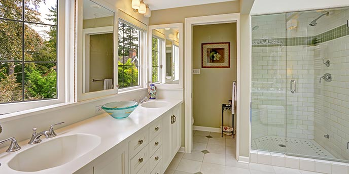 Master Bathroom With Double Sinks and Walk-In Shower