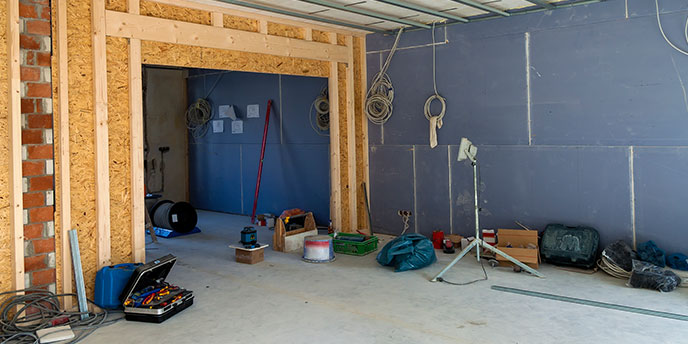 Home Interior Prepped for Demolition