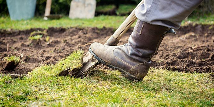 Homeowner Wearing Boots to Dig Grass and Soil