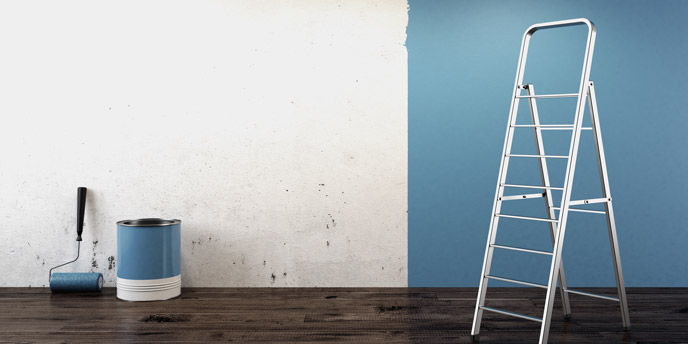 Blue Low VOC Interior Paint Over White Wall