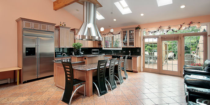 Skylights in Tan and Beige Kitchen Providing Ample Natural Light