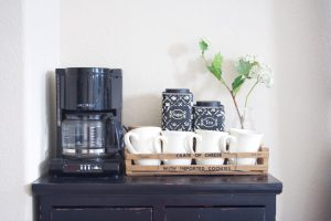 Incorporating a coffee bar into your bedroom makeover.