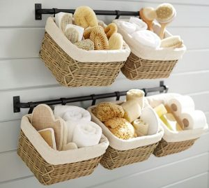 Get organized with hanging storage in the bathroom.