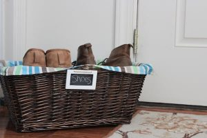 Get organized with a basket for shoes.