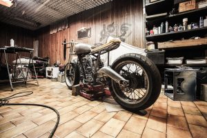 A cluttered garage.