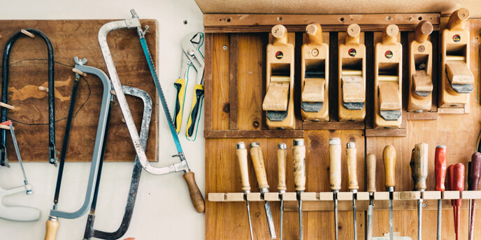 Image of Tools Hanging on a Garage Wall