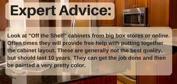 Choose off the shelf cabinets for a cheap kitchen remodel.