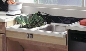 Adjustable sink for aging at home.