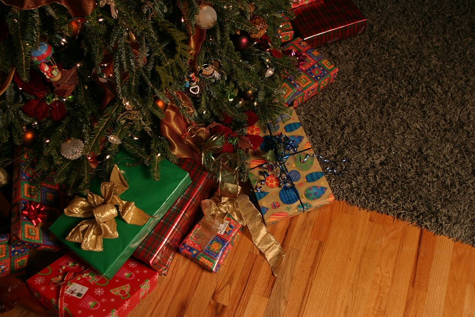 Gifts under a Christmas tree.