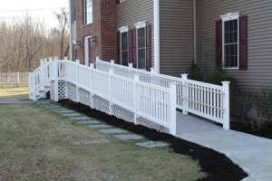 Steps replaced by a stylish ramp for aging at home.