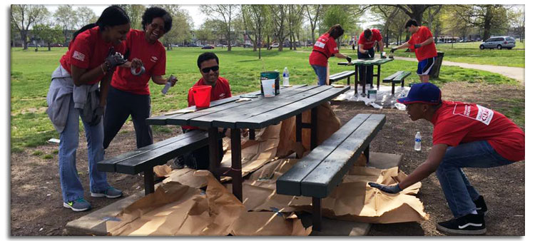 Keep Philadelphia Beautiful Volunteers Fixing Up Park Picnic Tables