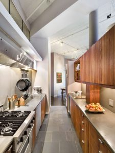An example of what a galley kitchen is.