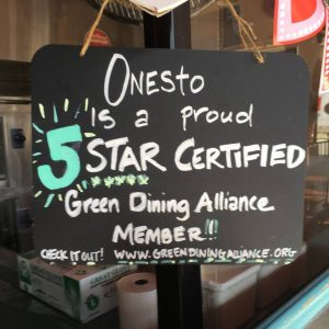 Sign from a GDA-certified sustainable restaurant.