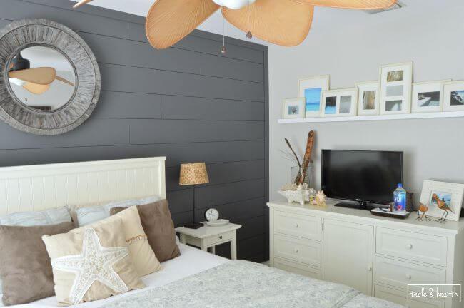 Whitewash Shiplap Wall Living Rooms