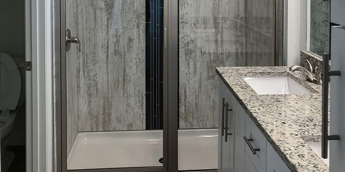 Gray and Black Laminate Walk-In Shower