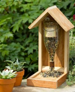 A Wine Bottle Reused as a Birdfeeder.