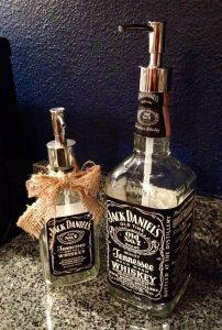Reusing a Jack Daniel's Bottle to Create a Soap Dispenser.