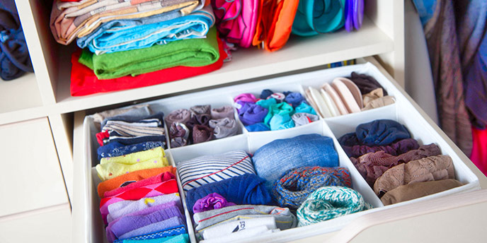 Organized, Folded Clothes in Drawers