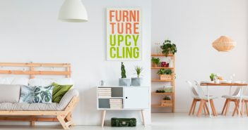Image of a room quirky cabinet with a poster above it saying Furniture Upcycling