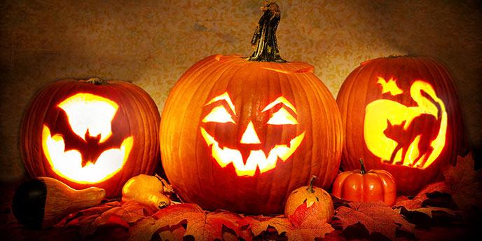 Halloween Jack-O-Lanterns Lit Up