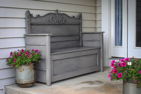 Image of a DIY Bench From Repurposed Headboards