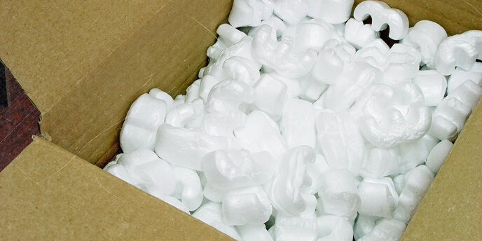 Packing Peanuts in Cardboard Box