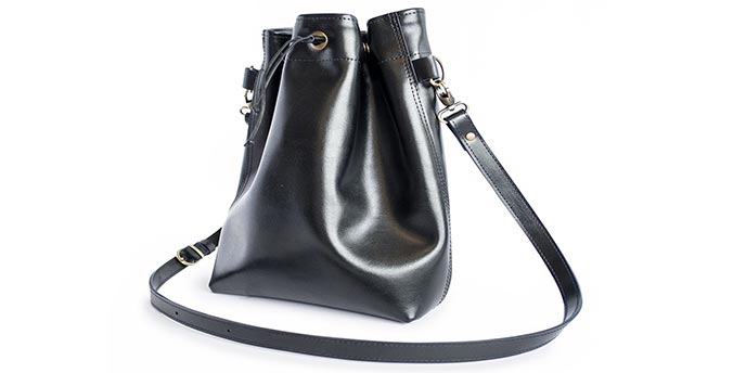 Black Bucket Bag Made from Excess Leather