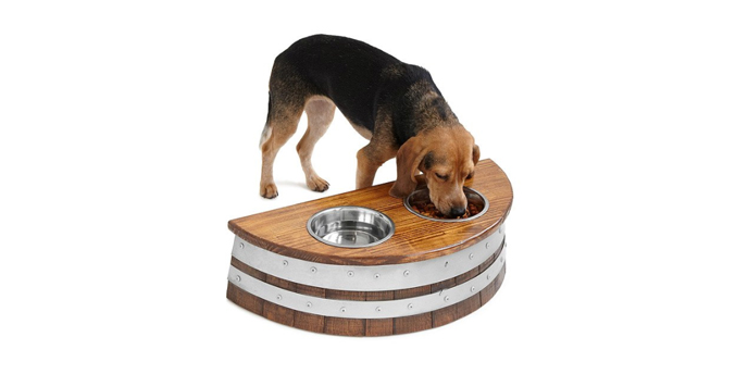 Dog Eating From Upcycled Wine Barrel Feeder