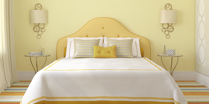 Bedroom With Yellow Paint