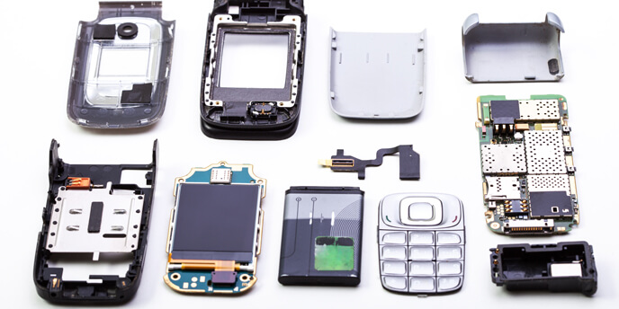 Cellphone Disassembled Into Its Individual Components