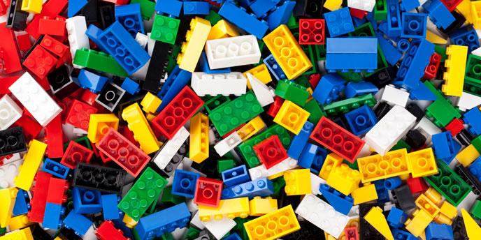 Close Up on Pile Of Unorganized Children's Legos