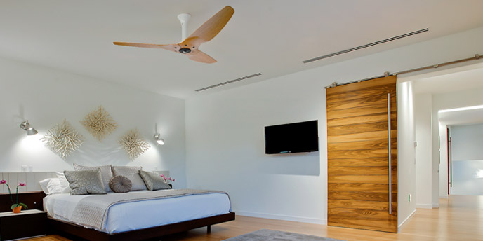 Haiku Ceiling Fan in Bedroom Helping to Keep House Cool Without AC