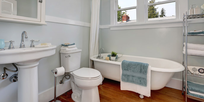 Tidy Bathroom With Pedestal Sink
