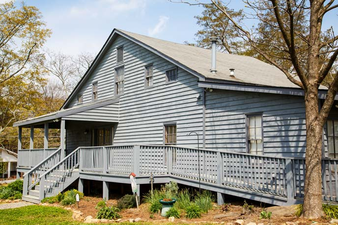 Grey House With Wheelchair Accessibility Ramp