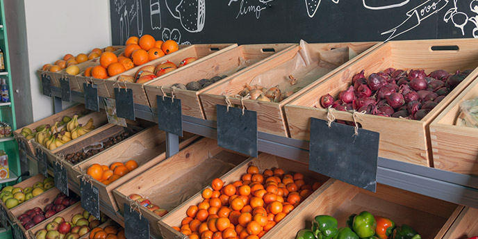 Grocery Store With Wooden Produce Crates
