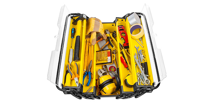 Organized yellow toolbox.