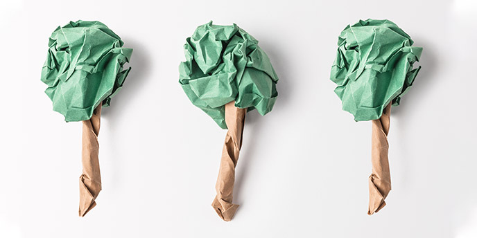 Green and Brown Colored Paper Shaped Into Trees