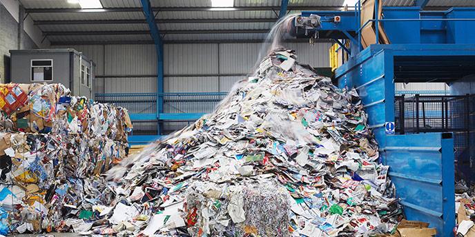 Sortiermaschine in der Recyclinganlage