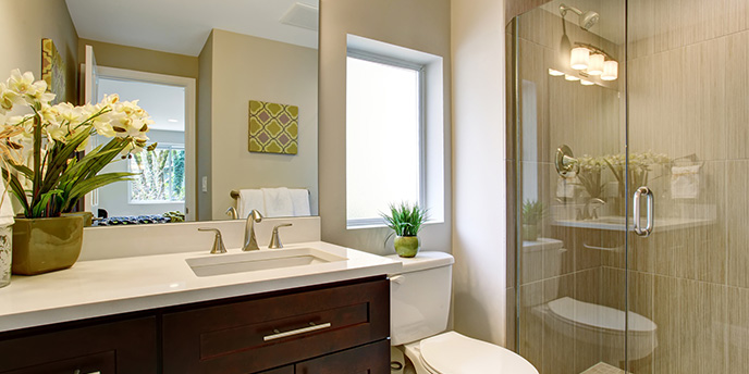 Contemporary Bathroom With Glass Shower Doors
