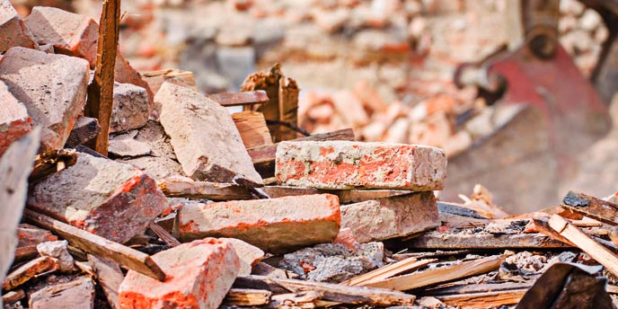 Home Deconstruction Pile of Bricks and Debris