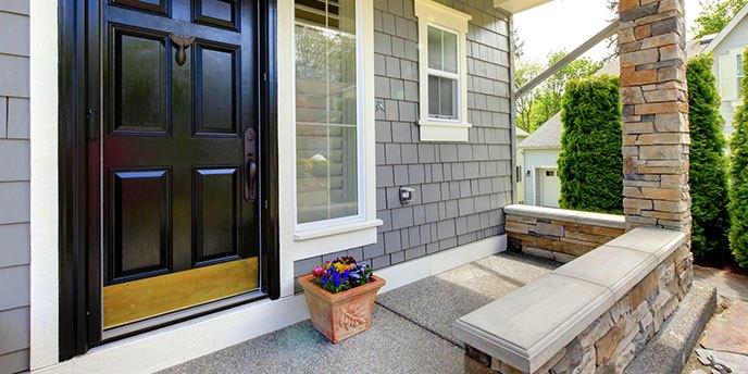Grey House With Black Front Door